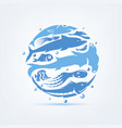 Blue planet sealife stylized symbol set of icons