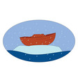 boat on ice on white background vector image