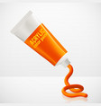 Bright orange paint tube vector image vector image