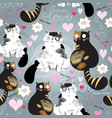 bright pattern with enamored cats vector image vector image