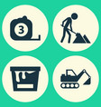 building icons set collection of digger vector image vector image