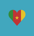 cameroon flag icon in a heart shape in flat design vector image vector image