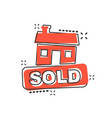 cartoon sold house icon in comic style sold sign vector image vector image