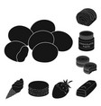 chocolate dessert black icons in set collection vector image vector image