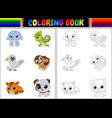 coloring book with animals cartoon collection vector image vector image