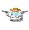 cowboy ambulance character cartoon style vector image