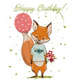 cute birthday fox vector image