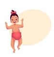 Cute little baby girl dancing happily vector image