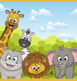 different cute wild animals vector image