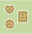 eco-product stickers isolated on light background vector image