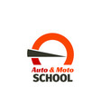 emblem for auto driving school vector image