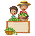 farmer holding broccoli on banner vector image vector image