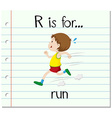 Flashcard letter R is for run vector image vector image