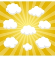 Flat clouds on yellow sky and beautifull shadow vector image vector image