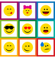 flat icon gesture set of smile love delicious vector image vector image
