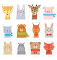 funny animals cute zoo collection shower kids vector image vector image