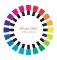 Group of nail polish bottles set in a circle vector image vector image
