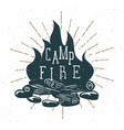 hand drawn campfire with vintage sunburst vector image vector image