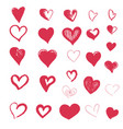hand drawn hearts collection design elements vector image