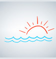 hand drawn sun with sea waves summer concept vector image