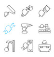 hands holding instruments linear icons set vector image vector image