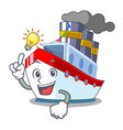 have an idea ship contener a in shape cartoon vector image