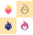 heart on fire icon set in flat and line styles vector image