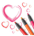 hearts drawn by a marker vector image