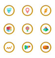 infographic element icons set cartoon style vector image