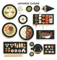 japanese cuisine collection dishes and meals on vector image vector image