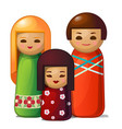 japanese doll - woman man and child family toys vector image