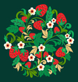 Khokhloma pattern strawberries and flower vector image vector image