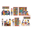 library and bookstore with people reading choosing vector image vector image