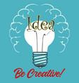 light bulb idea concept retro poster vector image vector image