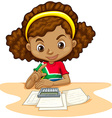 Little girl using calculator vector image