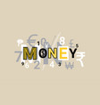 money finance creative word over abstract vector image