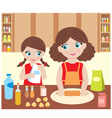 mother with the daughter baking vector image