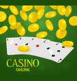 online casino web banner four aces poker hand and vector image vector image