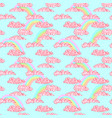 pastel rainbow and pink grunge clouds seamless vector image