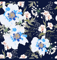 pattern with blue peony flowers and lilies vector image vector image