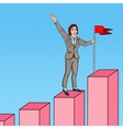 Pop Art Business Woman with Flag on the Top vector image vector image
