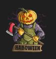 pumpkin head with big axe grap vector image vector image