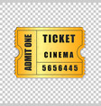 realistic gold cinema ticket isolated object vector image vector image