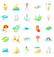 resort icons set cartoon style vector image vector image