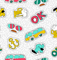 Retro hand drawn patch icon seamless pattern vector image vector image