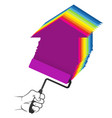 roller in hand painter painting symbol vector image vector image
