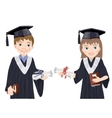 Schoolboy and schoolgirl in Graduate Costumes vector image vector image