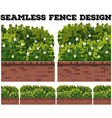 Seamless fence design with bush and flowers vector image vector image