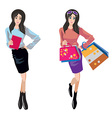 shopping and business woman vector image vector image