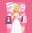 shopping bride vector image
